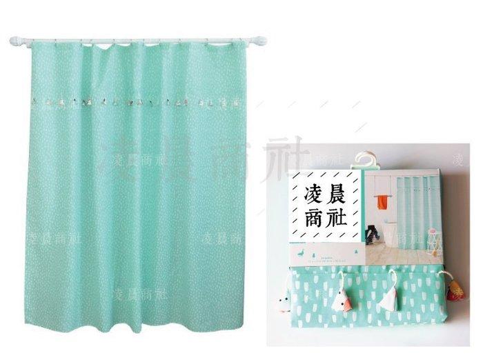 凌晨商社 //出口尾單 北歐zakka文青 法式 浪漫浴室防水乾濕分離 可愛吊飾水滴圖樣 防霉浴簾 藍綠色下標區