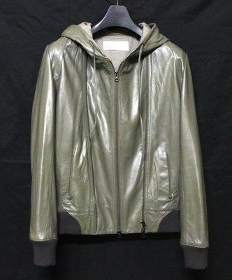 【換季優惠】日本品牌SENSUAL FMH   型男高質感窄版柔軟羊皮連帽運動皮衣  真皮