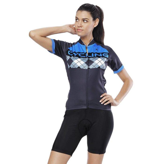 【Paladin】女款短袖車衣褲套裝 :: 藍格
