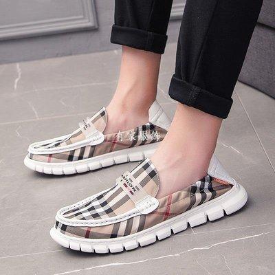 有家服飾夏季帆布鞋男士正韓潮流休閒鞋一腳蹬老北京布鞋百搭格紋豆豆潮鞋