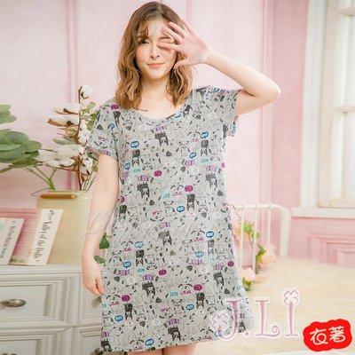 【J.Li】QA4075全尺碼-棉質滿版塗鴉狗狗手繪短袖連身裙睡衣(文靜灰)