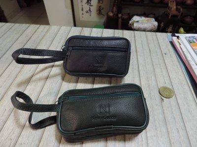 拉鍊式零錢包 鑰匙包 信用卡包 隨身包 雙夾層 手勾包 藍色 綠色 共2個