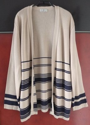 日本製品牌【CADORNA】卡其&深藍 粗細線條 開襟長版 針織罩衫