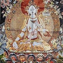 【開運幸運星】現貨 白度母 藏傳佛教 西藏 唐卡 佛像 尼泊爾 畫像 風水畫 織錦畫 刺繡 鎮宅 k A198-7