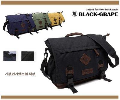 韓國尼龍料 潮流斜背 手提帥氣郵差包/手提包【C3203】黑葡萄包包