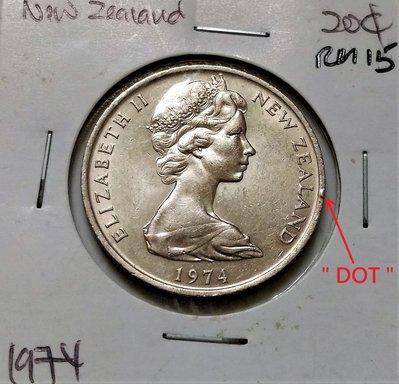 """1974 年 紐西蘭 伊莉莎白 2世 奇異鳥 國徽 20 CENTS 仙 錢幣 稀少 變體 多一 """"DOT"""""""