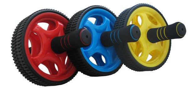 開心運動場- 雙輪彩色健腹輪(健美輪)滾輪 腹肌 (單簧握力棒貝殼機 六塊肌 瑜珈  彈力繩)