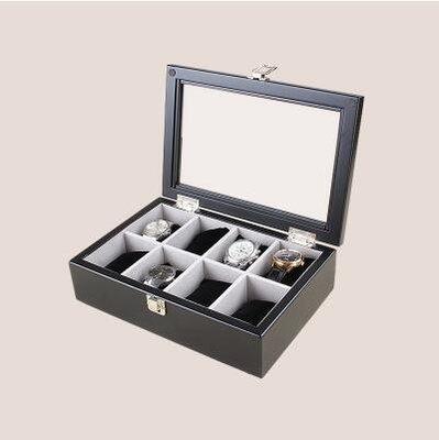 【優上】實木質 手錶盒首飾收納盒收藏盒展示儲物盒「8位錶盒 黑色」