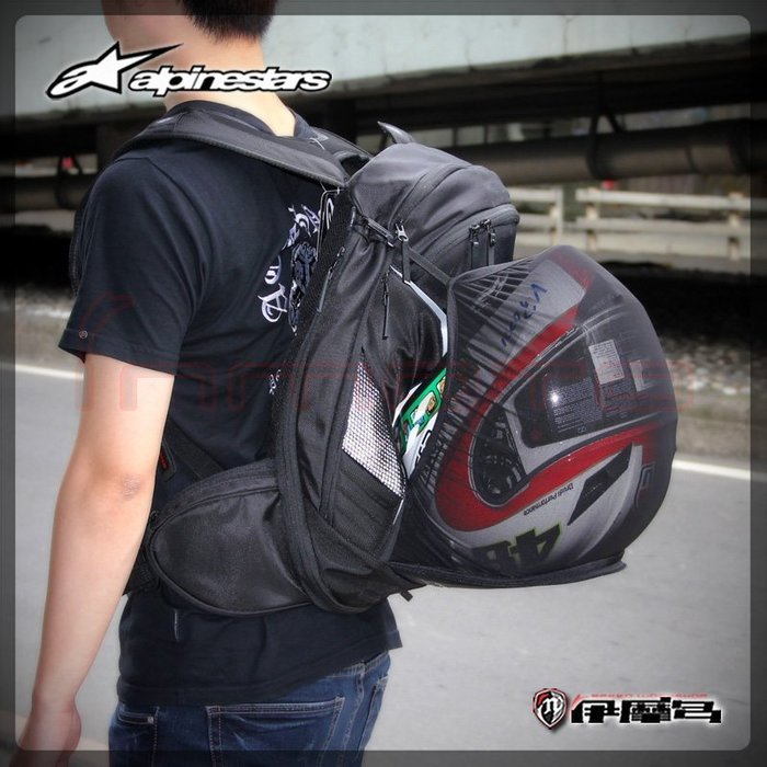 伊摩多※義大利 alpinestars Tech Aero Backpack 黑白 雙肩背包 後背包 可放安全帽水袋護背