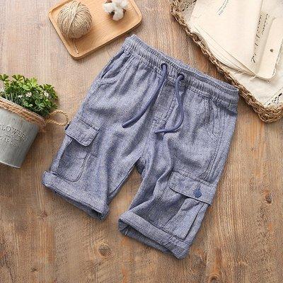 【Mr. Soar】 F449 夏季新款 歐美style童裝男童棉麻五分褲短褲 中大童 現貨