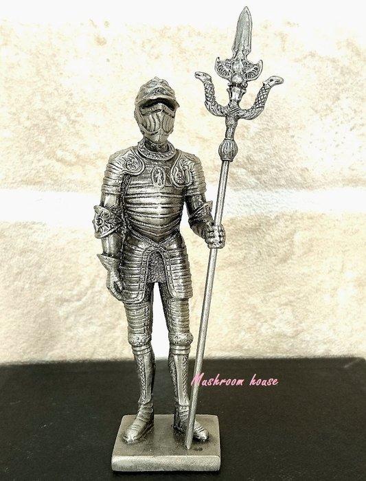 點點蘑菇屋{合金武士擺飾}合金中古武士(十一)~左手拿戟 鐵甲武士 全身盔甲 歐洲中古世紀羅馬 盔甲武士 現貨