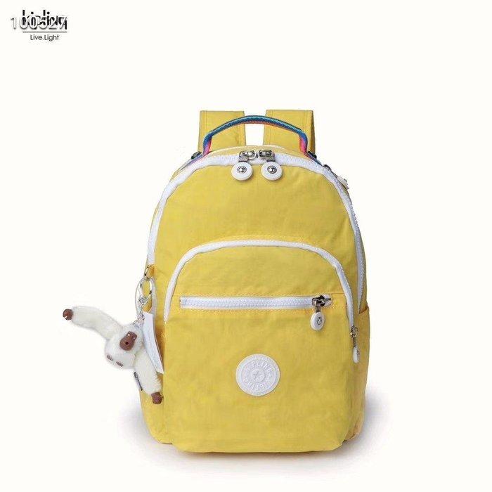 凱莉代購 Kipling 猴子包 BP3872 黃拼 拉鍊夾層輕量雙肩後背包 防水 中款 預購