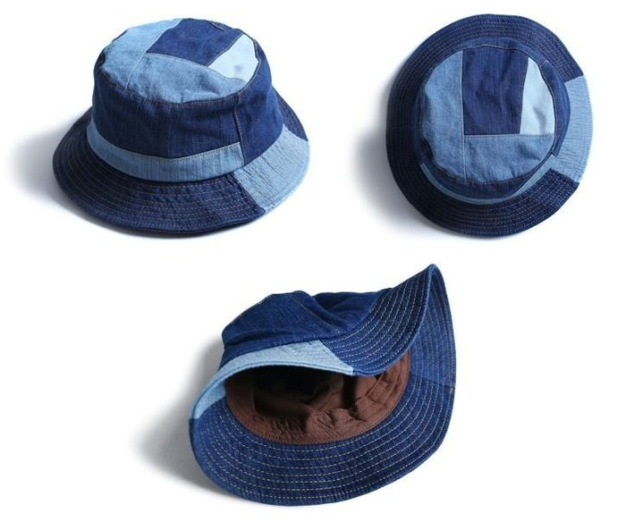 【NoComment】日系 街頭復古 質感簡約 牛仔拼接漁夫帽