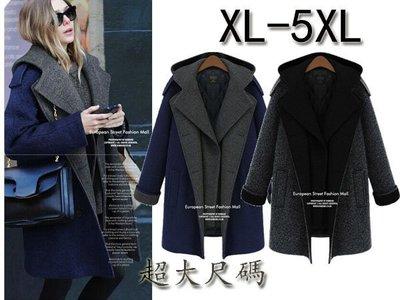 特大尺碼帶帽中長款大氣加厚保暖毛呢外套 XL-5XL A43