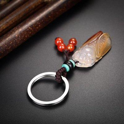「免運」慈蓮閣開光天然玉髓汽車鑰匙扣掛件鑰匙錬大眾寶馬奧迪奔馳男士女 『菲菲時尚館』