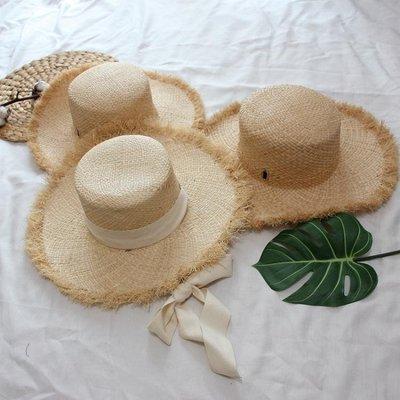 草綁帶大沿遮陽帽子女士復古平頂度假禮帽春夏季草帽