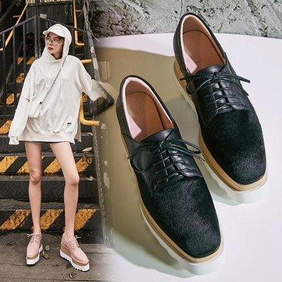 Fashion*厚底松糕鞋~真皮馬毛系帶坡跟鞋 百搭方頭厚底高跟鞋/跟高8CM 34-39碼『黑色 粉色』