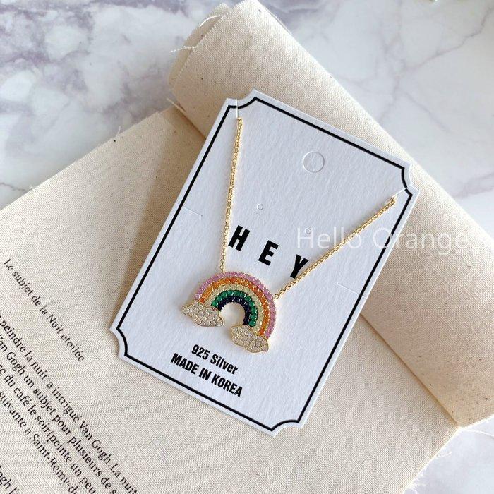 免運 新品現貨+預購 韓國製 925純銀 彩虹雲朵項鍊 精緻鑲鑽 調節環 珠寶鑲工 免運 生日禮物 畢業禮物