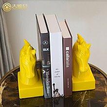 〖洋碼頭〗中式現代簡約裝飾品書桌書櫃兒童房黃色陶瓷馬頭書靠客廳創意擺件 jwn263
