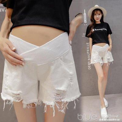 孕婦牛仔短褲夏季新薄款破洞低腰外穿短褲女寬鬆打底時尚夏裝