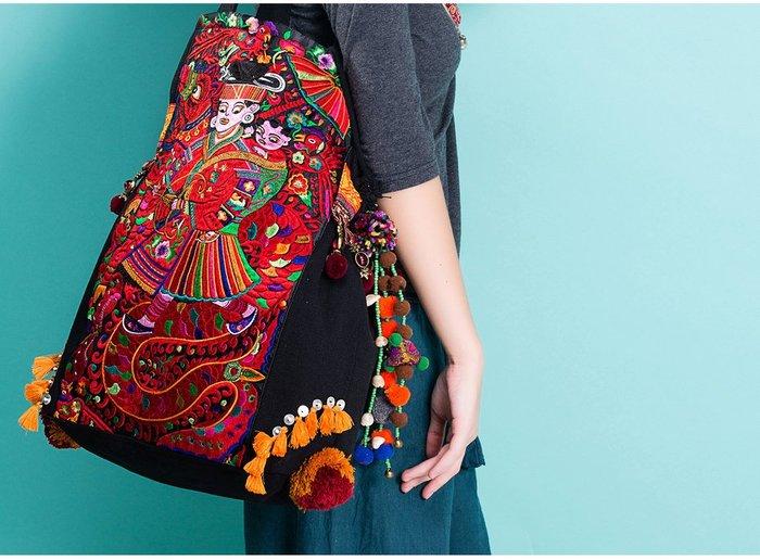 竹竹中國服飾--原創 民族風 苗繡繡花刺繡旅行包單肩包帆布包 苗樂 (特價品)