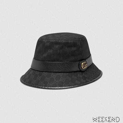 【WEEKEND】 GUCCI Canvas Fedora GG 帆布 漁夫帽 帽子 576587 黑色