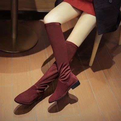 真皮長靴 低跟靴子-秋冬時尚優雅百搭女鞋2色73iv19[獨家進口][米蘭精品]