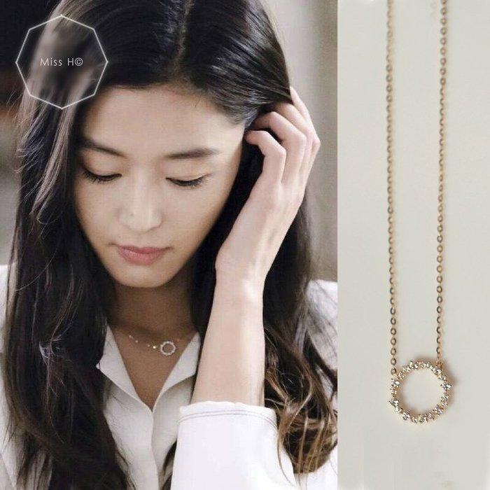 AT77-法式手工輕珠寶-純14K黃金。藍色大海的傳說 鑲鋯石滿鑽圓圈鎖骨鏈項鍊 手環agete ca4la