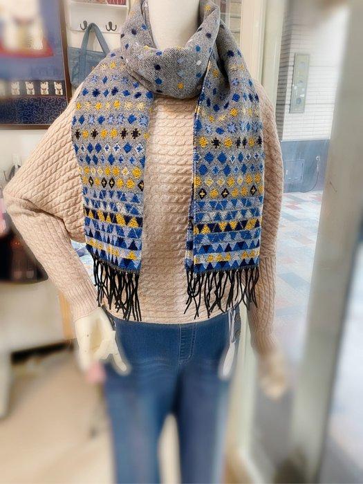 美家園日本生活館 日本帶回法國製 長圍巾 圍脖 彩色方塊 灰色