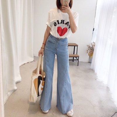 MAY_5253 韓 後釦環車線喇叭褲(SML)#03088802