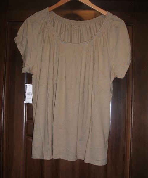 美系品牌領圍彈性鬆緊壓褶小包袖MODAL棉質上衣XL號..........~~~R.109
