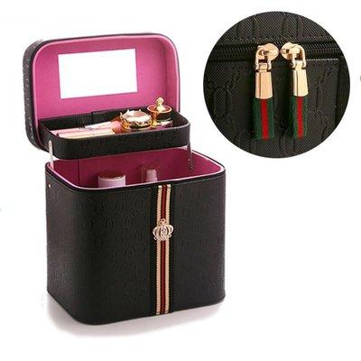 ☜男神閣☞化妝置物盒梳妝臺收納箱大容量便攜隨身口紅香水盒手提收納包箱