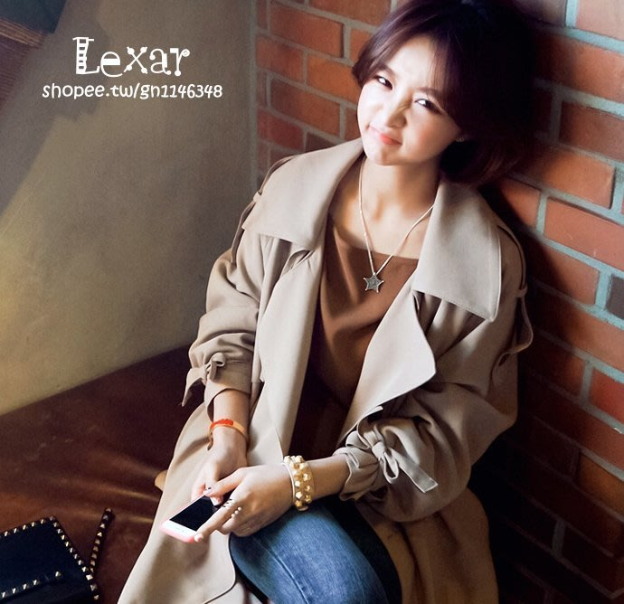春季新款女裝韓國東大門韓版翻領中長款女式風衣女大衣外套