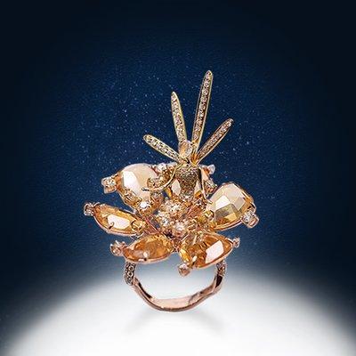 【高品珠寶】首席設計師系列作品-Fairy Dance-漫舞紛飛在迷人的金色花中-9月