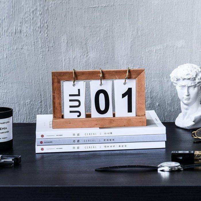 木質桌曆日曆 創意簡約翻頁裝飾 北歐擺件書房擺設_☆優購好SoGood☆