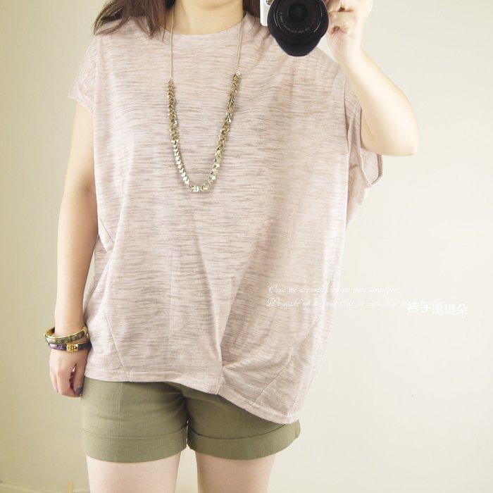 正韓 棉麻T 不對稱袖 竹節棉紋 ~ 桔子瑪琪朵。惠衣