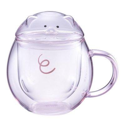 2019年 台灣星巴克 小豬把手雙層玻璃杯 300ml , 比豬年 小豬撲滿 還要稀少, 台灣製造,