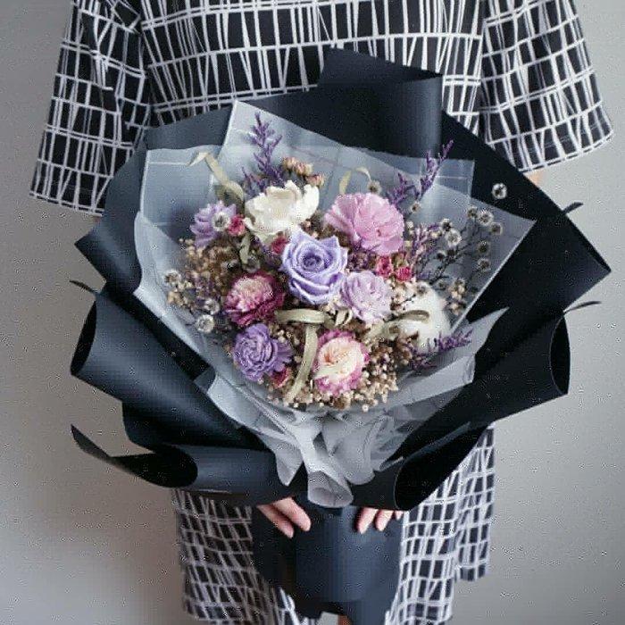 《全新改版》【預購】紫色系永生玫瑰韓式乾燥花束/拍照/告白/求婚/生日/情人節花束