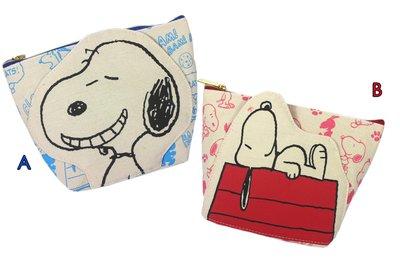 【卡漫迷】 Snoopy 化妝包 印花 二款選一 ㊣版 帆布 史努比 拉鍊式 花生漫畫 筆袋 鉛筆袋 收納包 史奴比