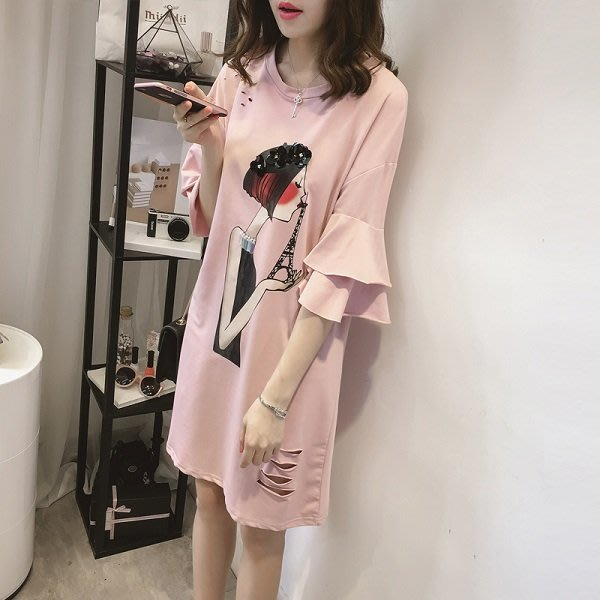 韓款粉色花朵女孩破損長版上衣