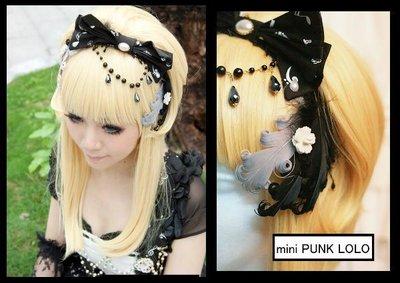 *mini & PUNK LOLO*歐式皇家音樂學院{幕.半音系列}雙色羽翼珍珠蝴蝶結頭飾~LOLITA.PUNK