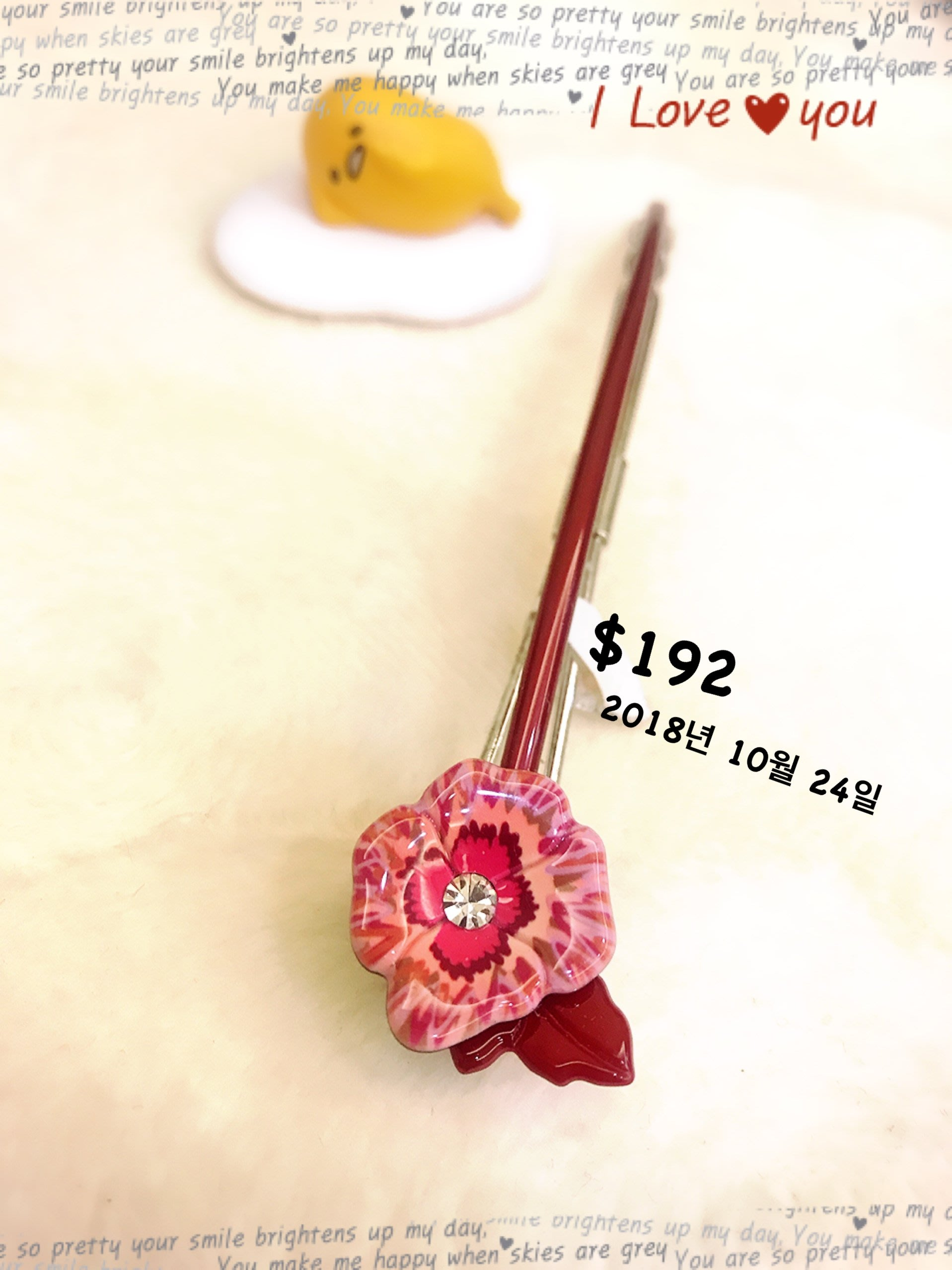 1024~Grain de beaute 妍選精品~ 杜鵑花朵純飽色酒紅長扣夾 $192 起標