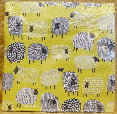 全新從未拆開用過,英國品牌Ulster Weavers 【Dotty Sheep】高級餐巾紙,每張三層,低價起標無底價!