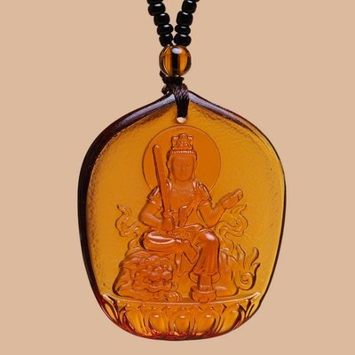 【睿智精品】琉璃 神像 佛像 文殊菩薩項鍊 珠鍊款 十二生肖屬(兔)本命佛(GA-4802)