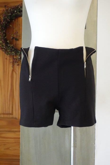 [C.M.平價精品館]S碼現貨最後一件出清特價/原價1980元設計師精品專櫃別緻雙拉鏈腰圍舒適好穿彈力黑色短褲