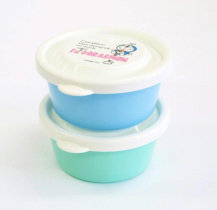 便當盒 日本 迪士尼 多拉A夢 竹蜻蜓 任意門 圓形 藍 綠 餐盒 2入組 正版日本進口授權