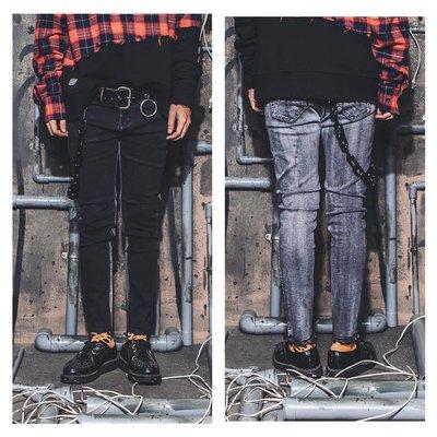 美國東村【SLIGHTLY NUMB】LOT.1440-8 SKINNY PANTS 前後 拼接 黑 灰 彈性 窄褲