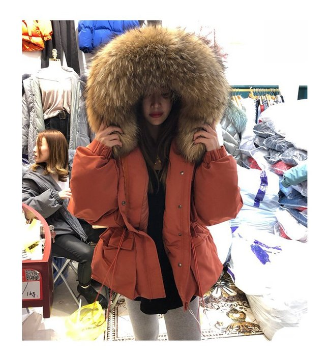 Modem Girl♥100%實拍「特價」正韓 超大貂毛抽繩腰身短版外套(免運)