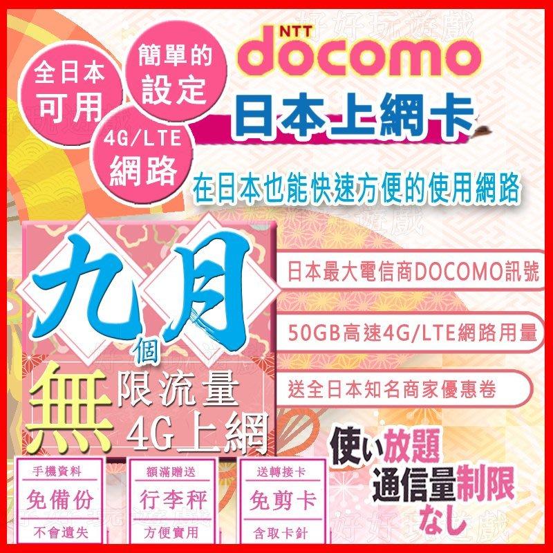[日本好好玩]9個月 270天 日本上網卡 50GB超高用量 4G吃到飽 送行李秤 DOCOMO sim卡 日本 網卡