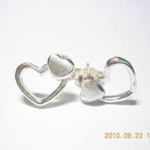 琥珀貓銀飾DIY【925純銀飾品】耳飾~耳針~N7582款~10mm鏤空愛心~一對